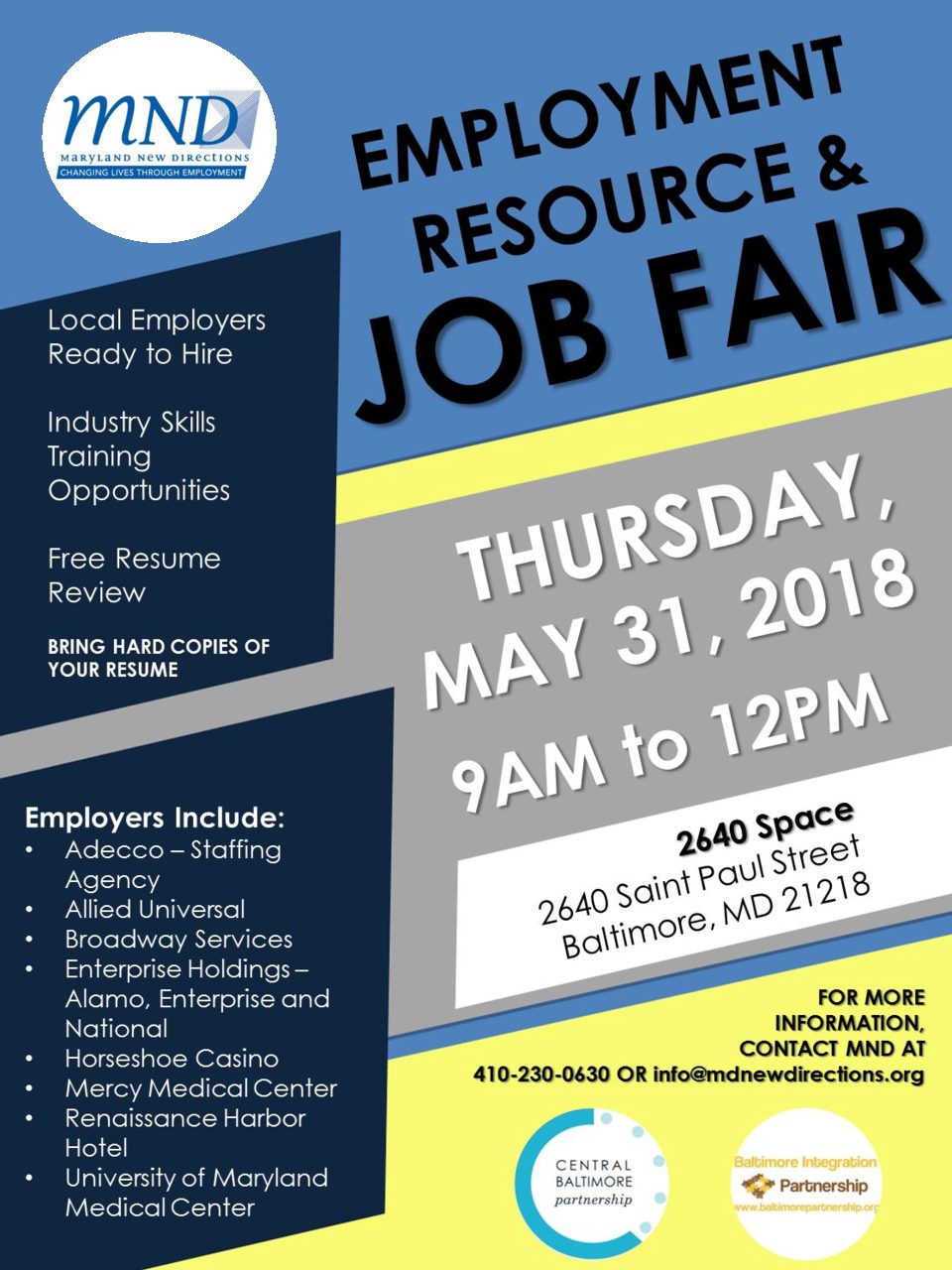 Employment Resource & Job Fair - Maryland New Directions
